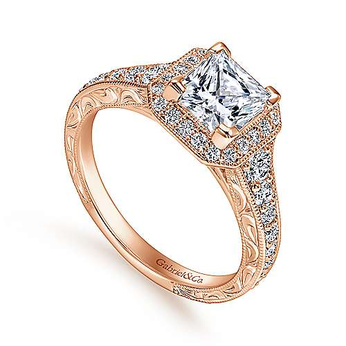 Estelle 14k Rose Gold Princess Cut Halo Engagement Ring angle 3