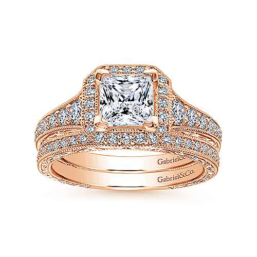 Estelle 14k Rose Gold Princess Cut Halo Engagement Ring angle 4