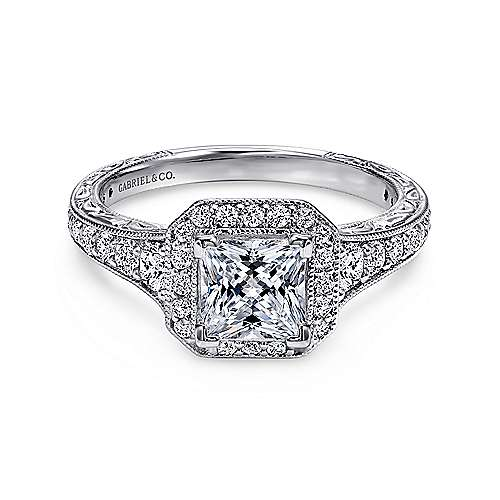 Estelle 14k White Gold Princess Cut Halo Engagement Ring angle 1