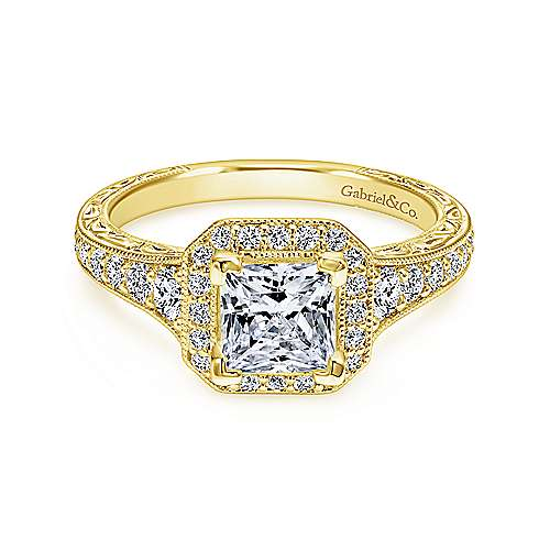 Gabriel - Estelle 14k Yellow Gold Princess Cut Halo Engagement Ring