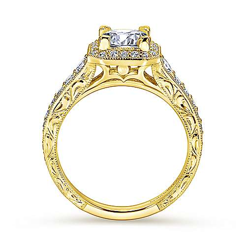 Estelle 14k Yellow Gold Princess Cut Halo Engagement Ring angle 2