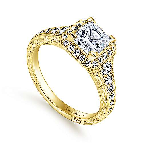 Estelle 14k Yellow Gold Princess Cut Halo Engagement Ring angle 3