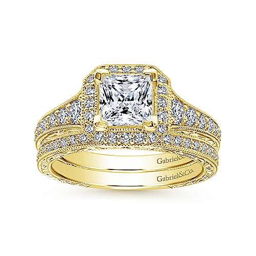 Estelle 14k Yellow Gold Princess Cut Halo Engagement Ring angle 4
