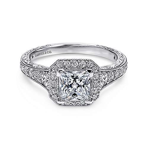 Gabriel - Estelle Platinum Princess Cut Halo Engagement Ring
