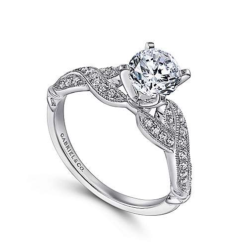 Estrella 18k White Gold Round Twisted Engagement Ring angle 3