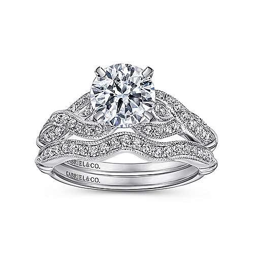 Estrella 18k White Gold Round Twisted Engagement Ring