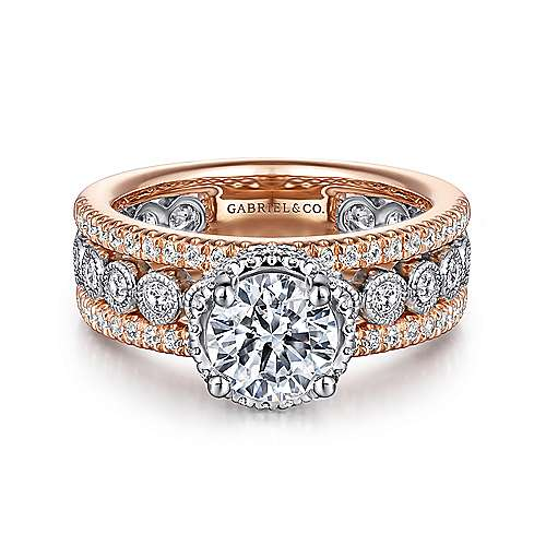 Gabriel - Ethel 14k White And Rose Gold Round Straight Engagement Ring