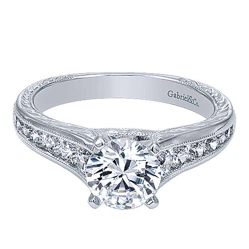 Gabriel - Etta 14k White Gold Round Straight Engagement Ring