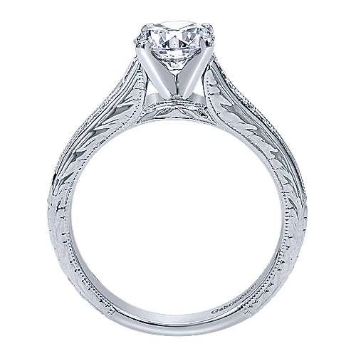 Etta 14k White Gold Round Straight Engagement Ring angle 2