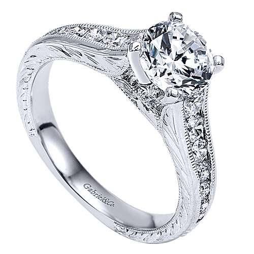 Etta 14k White Gold Round Straight Engagement Ring angle 3