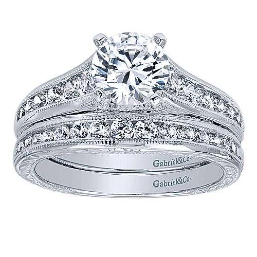 Etta 14k White Gold Round Straight Engagement Ring angle 4