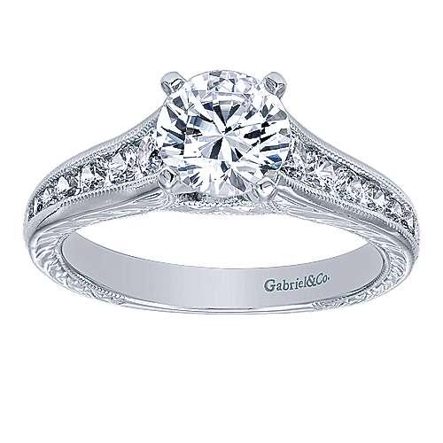 Etta 14k White Gold Round Straight Engagement Ring angle 5