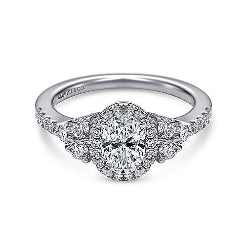 Gabriel - Eudora 14k White Gold Oval Halo Engagement Ring