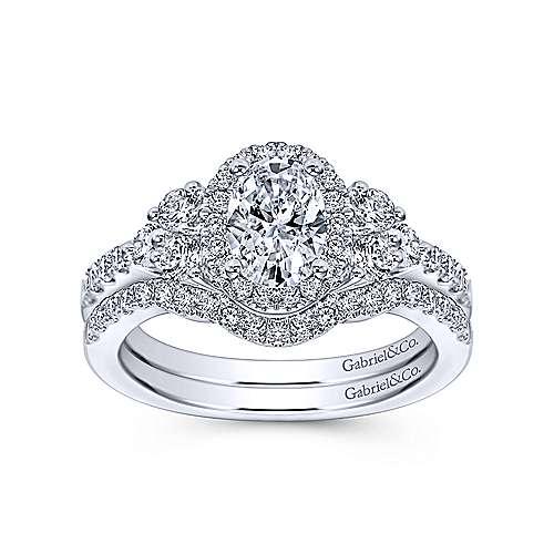 Eudora 14k White Gold Oval Halo Engagement Ring angle 4