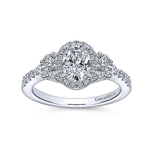 Eudora 14k White Gold Oval Halo Engagement Ring angle 5
