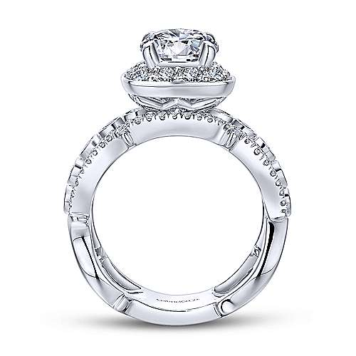 Eugenie 14k White And Rose Gold Round Halo Engagement Ring angle 2