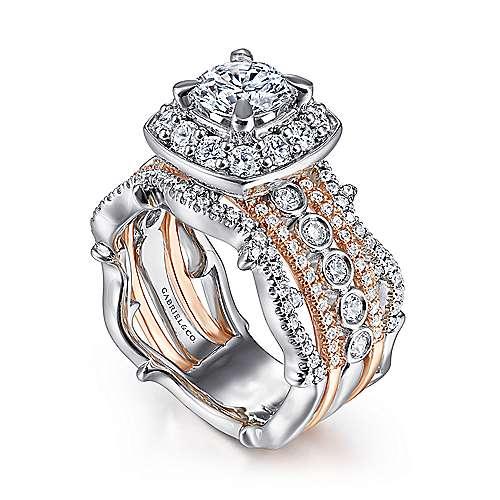 Eugenie 14k White And Rose Gold Round Halo Engagement Ring angle 3