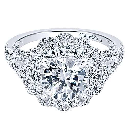 Gabriel - Euphoria 18k White Gold Round Double Halo Engagement Ring