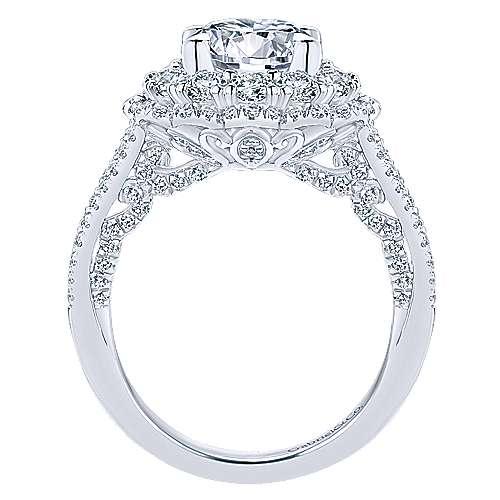 Euphoria 18k White Gold Round Double Halo Engagement Ring angle 2