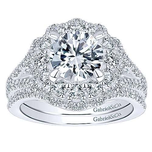 Euphoria 18k White Gold Round Double Halo Engagement Ring angle 4