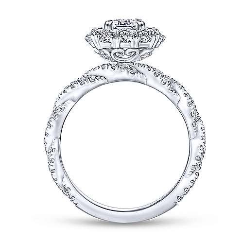 Evangelina 14k White Gold Emerald Cut Double Halo Engagement Ring angle 2