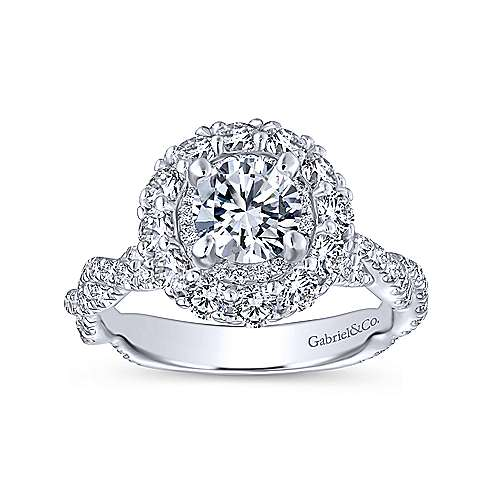 Evangelina 14k White Gold Round Double Halo Engagement Ring angle 5