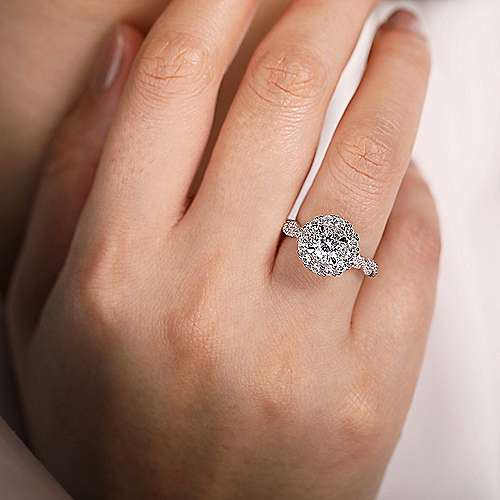 Evangelina 14k White Gold Round Double Halo Engagement Ring angle 6
