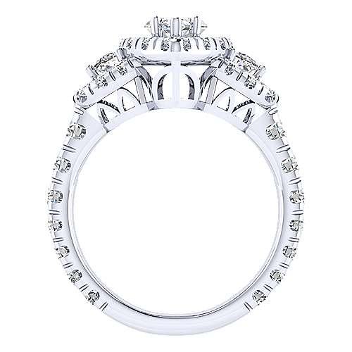 Eve 18k White Gold Marquise  3 Stones Halo Engagement Ring angle 2
