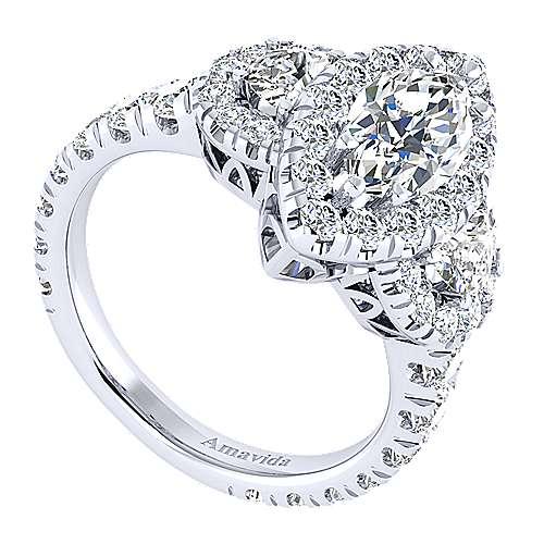 Eve 18k White Gold Marquise  3 Stones Halo Engagement Ring angle 3