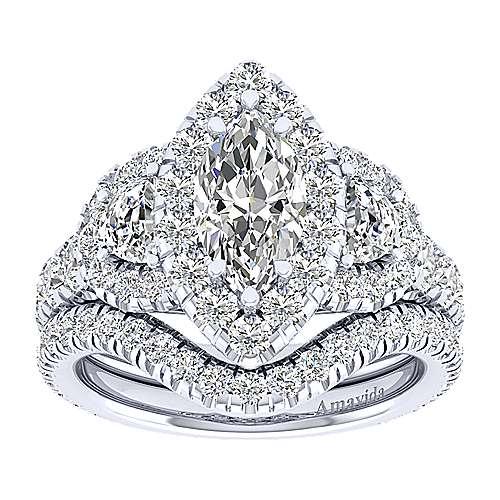 Eve 18k White Gold Marquise  3 Stones Halo Engagement Ring angle 4