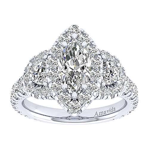 Eve 18k White Gold Marquise  3 Stones Halo Engagement Ring angle 5