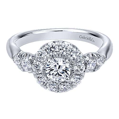 Gabriel - Everlasting 14k White Gold Round Halo Engagement Ring