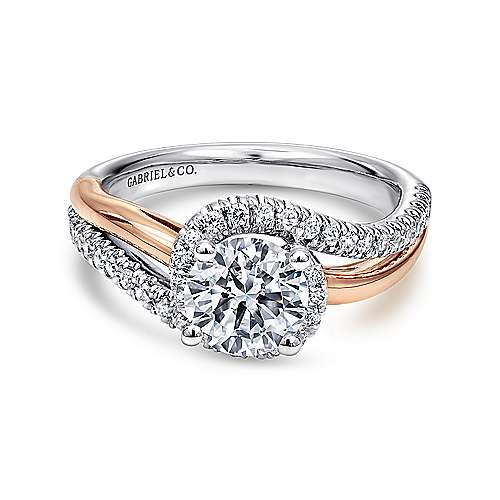 Gabriel - Everly 14k White And Rose Gold Round Bypass Engagement Ring