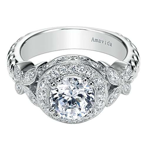 Gabriel - Evolve 18k White Gold Round Halo Engagement Ring