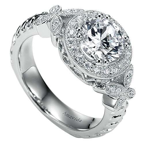 Evolve 18k White Gold Round Halo Engagement Ring angle 3