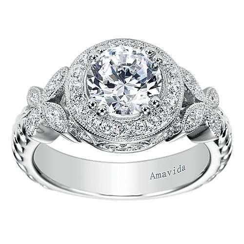 Evolve 18k White Gold Round Halo Engagement Ring angle 5
