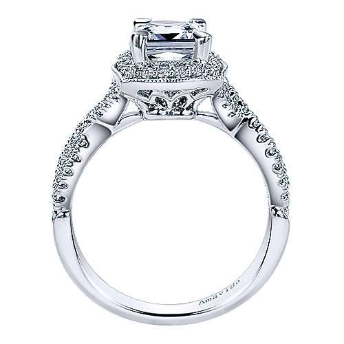 Exquisite 18k White Gold Cushion Cut Halo Engagement Ring angle 2