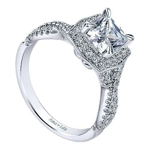 Exquisite 18k White Gold Cushion Cut Halo Engagement Ring angle 3