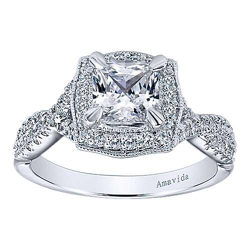 Exquisite 18k White Gold Cushion Cut Halo Engagement Ring angle 5