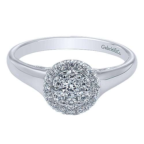 Gabriel - Fabie 14k White Gold Round Halo Engagement Ring