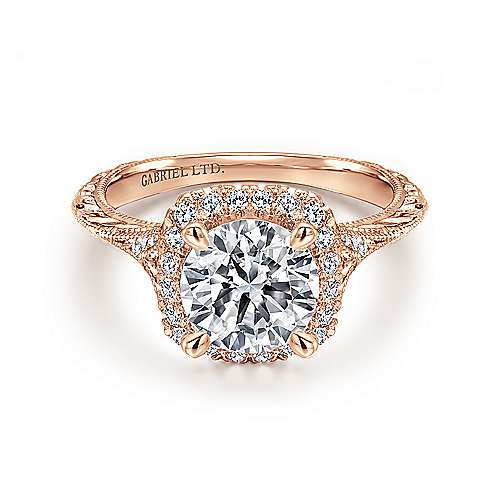 Gabriel - Faith 18k Rose Gold Round Halo Engagement Ring