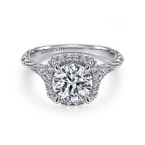 Gabriel - Faith 18k White Gold Round Halo Engagement Ring
