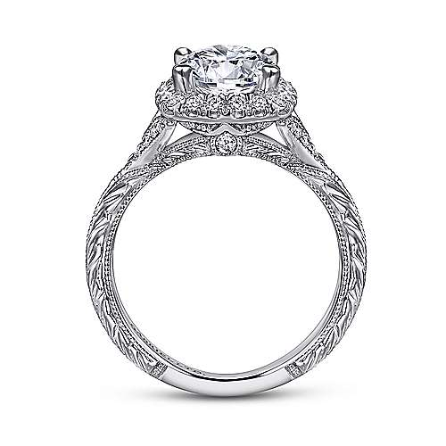 Faith 18k White Gold Round Halo Engagement Ring angle 2