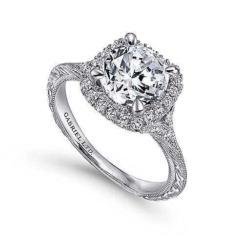Faith 18k White Gold Round Halo Engagement Ring angle 3