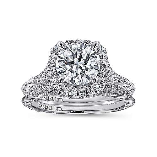 Faith 18k White Gold Round Halo Engagement Ring angle 4