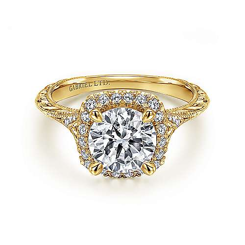 Gabriel - Faith 18k Yellow Gold Round Halo Engagement Ring
