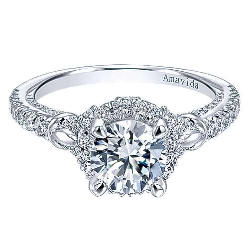 Gabriel - Fame 18k White Gold Round Halo Engagement Ring