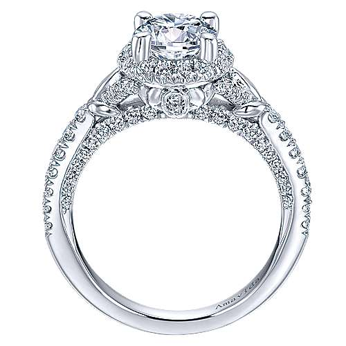 Fame 18k White Gold Round Halo Engagement Ring angle 2