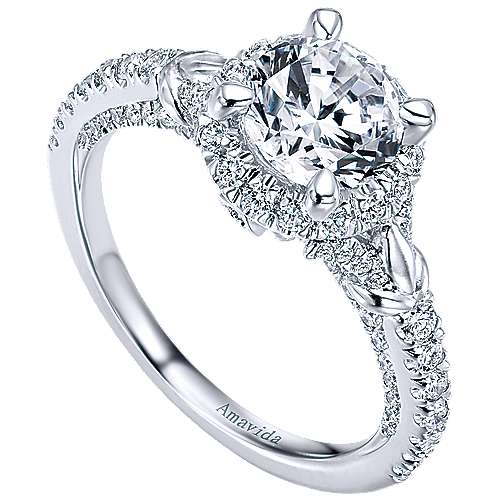 Fame 18k White Gold Round Halo Engagement Ring angle 3