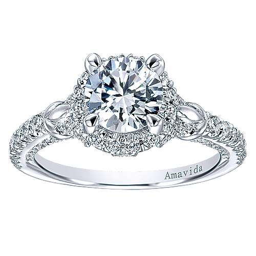 Fame 18k White Gold Round Halo Engagement Ring angle 5